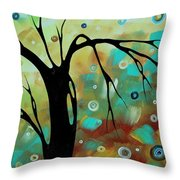 Abstract Art Original Landscape Painting Colorful Circles Morning Blues IIi By Madart Throw Pillow