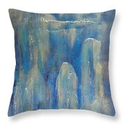 Abstract Blue Ice Throw Pillow