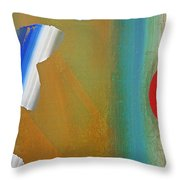 Abstract Blue With Red Sun Throw Pillow