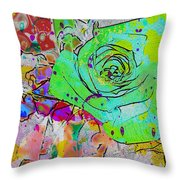 Abstract Childlike Rose Throw Pillow