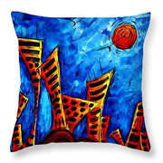 Abstract Cityscape Art Original City Painting The Lost City II By Madart Throw Pillow