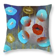 Abstract Colorful Poppies Throw Pillow