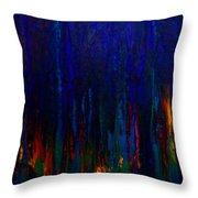 Abstract Evergreens Throw Pillow by Claire Bull