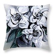 Abstract Gardenias Throw Pillow