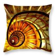 Abstract Golden Nautilus Spiral Staircase Throw Pillow