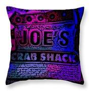 Abstract Joe's Crabshack Sign Throw Pillow