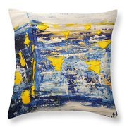 Abstract Kotel Prayer At The Western Wall Waiting For Peace In Blue Yellow Silver Jerusalem Israel  Throw Pillow