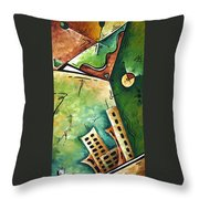 Abstract Martini Cityscape Contemporary Original Painting Martini Hour By Madart Throw Pillow
