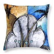 Abstract Martini Tropical Contemporary Original Painting Martini On The Beach By Madart Throw Pillow