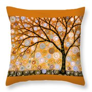 Abstract Modern Tree Landscape Dreams Of Gold By Amy Giacomelli Throw Pillow