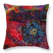 Abstract Red Poppy Throw Pillow