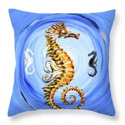 Abstract Sea Horse Throw Pillow by J Vincent Scarpace