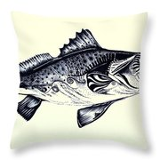 Abstract Speckled Trout Throw Pillow by J Vincent Scarpace