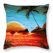 Abstract Surreal Tropical Coastal Art Original Painting Tropical Fusion By Madart Throw Pillow