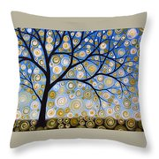 Abstract Tree Nature Original Painting Starry Starry By Amy Giacomelli Throw Pillow