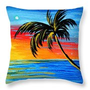 Abstract Tropical Palm Tree Painting Tropical Goodbye By Madart Throw Pillow