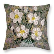Abstract Wild Roses Heavy Impasto Throw Pillow