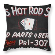 Ace's Hot Rod Shop Throw Pillow by Clarence Holmes