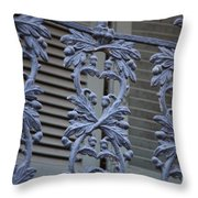 Acorn Railing In New Orleans Throw Pillow