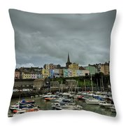 Across Tenby Harbour Throw Pillow