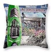 Action Bikes Throw Pillow