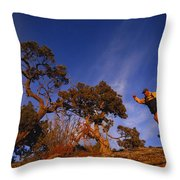 Adam Lederer Trail-runs Near Dolores Throw Pillow