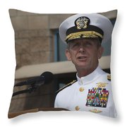 Admiral Eric Olson Speaks Throw Pillow by Michael Wood