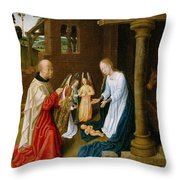 Adoration Of The Christ Child  Throw Pillow
