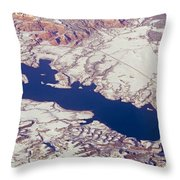 Aerial Of Abiquiu Reservoir Covered Throw Pillow