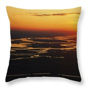 Aerial Sunset Of The Suisun Slough Throw Pillow