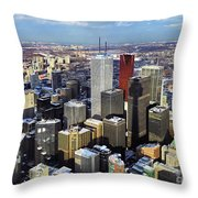 Aerial View From Cn Tower Toronto Ontario Canada Throw Pillow