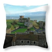 Aerial View Of Dover Castle Throw Pillow