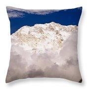 Aerial View Of Mountains, Annapurna Throw Pillow
