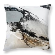 Aerial View Of Snow-covered Ruapehu Throw Pillow