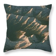 Aerial View Of Snowcapped Mountain Throw Pillow