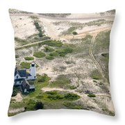 Aerial View Of Stage Harbor Light In Chatham On Cape Cod Massac Throw Pillow