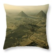 Aerial View Of The Pyramids Of Giza Throw Pillow