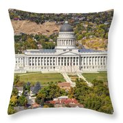 Aerial View Of Utah State Capitol Building Throw Pillow