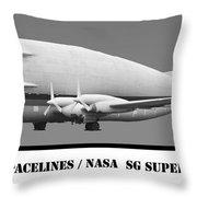 Aero Spacelines Super Guppy Bw Throw Pillow
