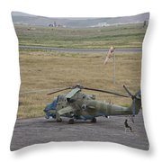 Afghan Army Soldiers Guard An Mi-35 Throw Pillow