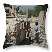 Afghan Children Ask U.s. Soldiers Throw Pillow