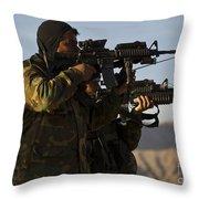 Afghan National Army Commandos Aim Throw Pillow