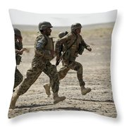 Afghan National Army Soldiers Run Throw Pillow