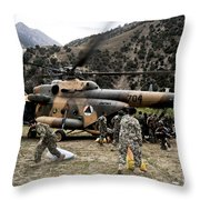 Afghan National Army Soldiers Unload Throw Pillow