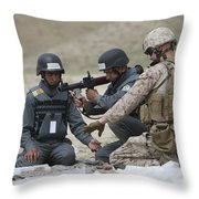 Afghan Police Students Assemble A Rpg-7 Throw Pillow
