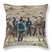 Afghan Police Students Listen To U.s Throw Pillow