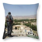 Afghan Policeman Standing Throw Pillow