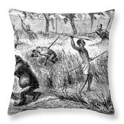 Africa: Ape Hunting Throw Pillow