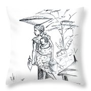 African Rural Woman Throw Pillow