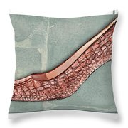 After A While Crocodile Pumps Throw Pillow